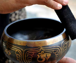Singing Bowl with hands